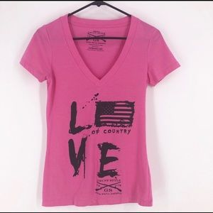 Grunt Style love of country Vneck tee